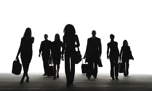 Businesspeople on the go